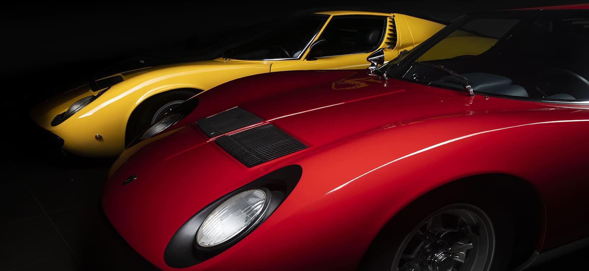 Lamborghini Miura Rouge et Jaune au Car Museum Club - Vence